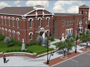A rendering of Collisville City Hall after the completion of phase three of the Downtown Streetscape Project / Image courtesy of Oates Associates