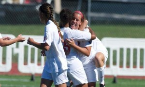 Cougars women's soccer celebrates a goal Sunday / Photo by SIUE Sports Information