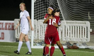Collinsville's Chelsea Smith (18) and Alex Johnson celebrate a goal / Photo courtesy of SIUE Sports Information