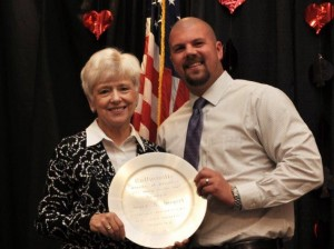 Joyce Biegert is presented the Spirit of Excellence Award by Matt Wyatt, Chamber Board President / Photo by Rick Owens