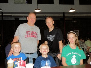 Three generations of McCloud. Front row, from left: Connor (4), Colin (6) and Kailey (13)  / Photo by Roger Starkey
