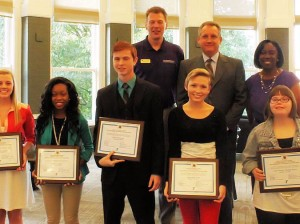 Southwestern Illinois YMCA Youth of the Year honorees. Karrie Brown is in the front row, on the right.