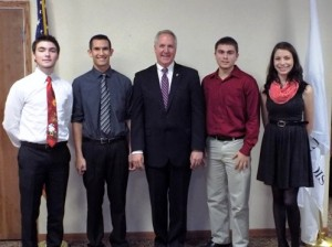 Madison County residents who received a Congressional Nomination from John Shimkus pose with the congressman. Left to right:  Connor Cunningham of Edwardsville, Grant Camillo of Highland, Zachary Auer of Collinsville, and Spencer Murphy of Highland.