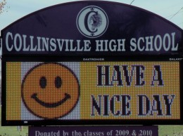 Sign at Collinsville High School / Photo by Roger Starkey