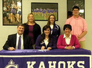 Lauren Hostetter signs a letter of intent to dance for McKendree University. Seated with Hostetter are her father, Michael, and mother, Jackie. Standing, left to right: Kahok Dance Team Head Coach Toni Geisen, McKendree Dance Team Head Coach Katy Czerwonka and Hostetter's brother, Kyle