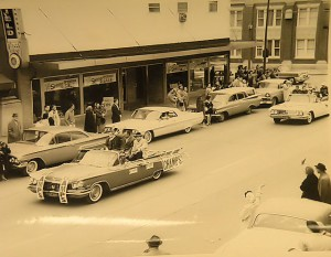 A parade in uptown Collinsville for the 1961 state championship basketball team