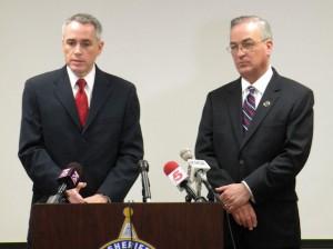 Madison County State's Attorney Tom Gibbons (left) and Madison County Sheriff Bob Hertz / Photo by Roger Starkey