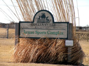 The sign at the entrance of the Jaycee Sports Complex in Collinsville / Photo by Roger Starkey