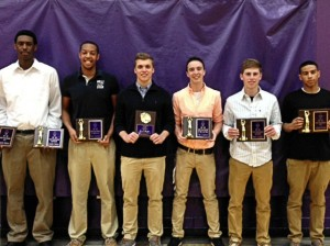 Left to right: Emondre Rickman (co-MVP and Rebounding award); Matt chambers (Mr Defense); Jacob Shaffer (Soehlke Award); Nic Gonet (Free throw Percentage Award); Brett Langley (most improved); Anfirnee Wilkinson (co-MVP) / submitted photo