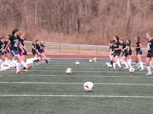 CHS girls soccer team at practice / Photo by Roger Starkey