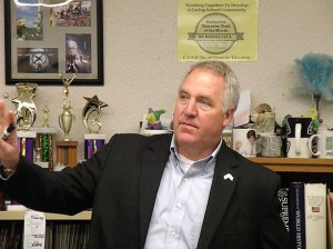 Congressman John Shimkus addresses a class at Collinsville High School on March 17, 2014 / Photo by Roger Starkey