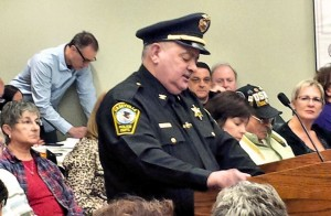 Caseyville Police Chief Jose Alvarez addresses the Village Board on March 19, 2014 / Photo by Roger Starkey
