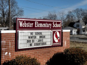Webster Elementary School sign / Photo by Roger Starkey