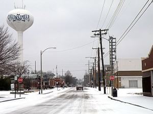 Clay Street in the snow / Photo by Roger Starkey