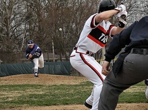 Kyle Reeves pitches against Wheaton Warrenville South on March 21, 2014 / photo by Roger Starkey