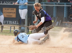 Kassidy Smith tags out Andrea Roberts of Belleville East / Photo by Sherry Holten