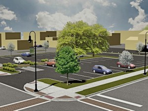 Artist rendering of the future parking lot at 130 S. Center St., Collinsville / image by Oates Associates