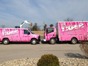 Pink Tiger Plumbing, Heating and Air Conditioning Services vehicles. A portion of proceeds from each service call made by the vehicles is donated to cancer awareness / submitted photo