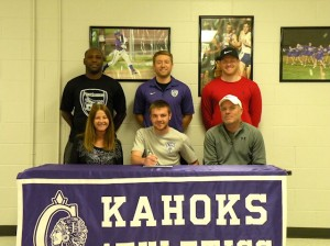 Alex Lamoreaux will continue his soccer career at Fontbonne University. Kelly, his mother is seated to his right and Jeff, his father, to his left. Standing, left to right: Ricky Andrews (Associate Head Coach at Fontbonne), Myles Hensler (CHS Head Coach) and Luke (Alex's brother)