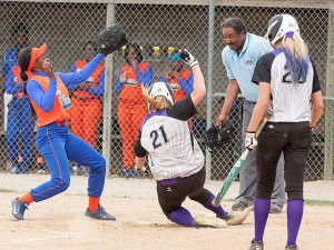 Kadie Ringering slides home safely / Photo by Sherry Holten