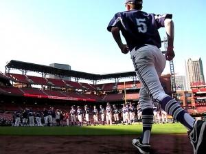 Matthew Cook takes the field at Busch Stadium / Photo by John Layton
