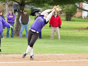 Sarah Scrum makes a play on a foul ball earlier this season / Photo by Sherry Holten