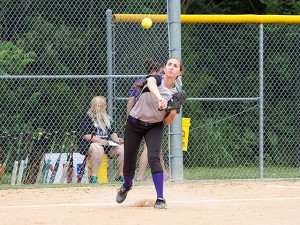 Alex Holten throws to first against Belleville East on May 27, 2014 / Photo by Sherry Holten