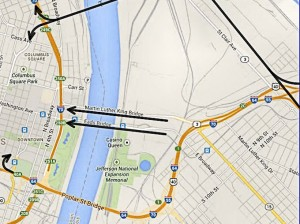 Poplar St. Bridge detour routes beginning May 27, 2014 and lasting approximately one year / Image courtesy of the Missouri Department of Transportation