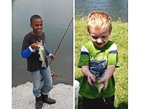 Left: Ryan Stevenson with the longest fish caught in 2013. Ryan's winner measured 12 and 1/4 inches. Right: Caden Miller shows off the bluegill he caught / Submitted photos