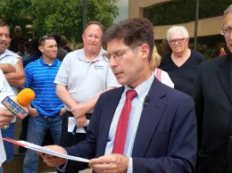 Kurt Prenzler at a news conference he arranged on May 30 at the St. Clair County Administration Building / Photo by Roger Starkey