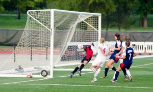 Michelle Auer (4) scores against the University Of Illinois Chicago / Photo by SIUE Sports Information