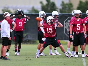 Austin Hails (#15) throws a pass in practice while coach Steve Spurrier looks on / Photo courtesy of thebigspur.com