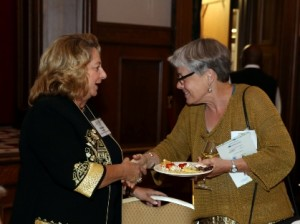 SWIC President Georgia Costello, left, greets Jean Ponzi, Green Resources Manager at the Missouri Botanical Garden's EarthWays Center / Submitted photo