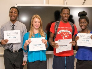 From left, Stefan Jones of O'Fallon, Celena Jentsch of Collinsville, Kenny Roberson of East St. Louis and Alexandria Waller of Cahokia recently took third place in the 2014 Allsup Academy business plan competition at Southwestern Illinois College / Photo by Aaron Sudholt