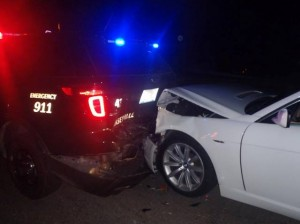 A Caseyville police vehicle was rear ended by a DUI suspect on Aug. 25 / Photo courtesy of the Caseyville Police Department