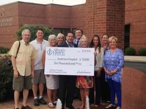 Members of Allison's Hope Foundation recently donated $10,000 to the Anderson Hospital Foundation