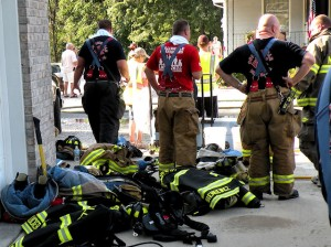 Collinsville Firemen at the scene of an early morning house fire on Sept. 4 / Photo by Roger Starkey