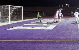 Jordan Smith about to score the game tying goal against Alton on Oct. 16 / Photo by Roger Starkey