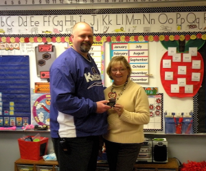 Michelle Renne, Collinsville Unit 10 September Teacher of the Month and Webster Elementary School Principal Brad Snow / Photo by Roger Starkey
