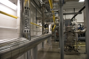 Interior of the Milam Renewable Natural Gas Facility, showing piping of landfill gas to compressors / Submitted photo